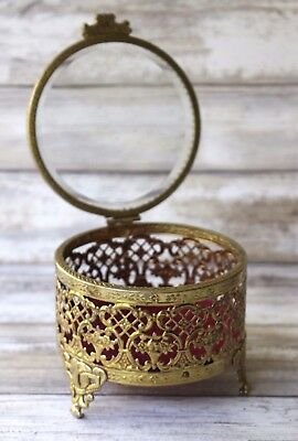 Vintage Gold Plated Jewelry Trinket Box Casket Footed Ormolu Glass Lid
