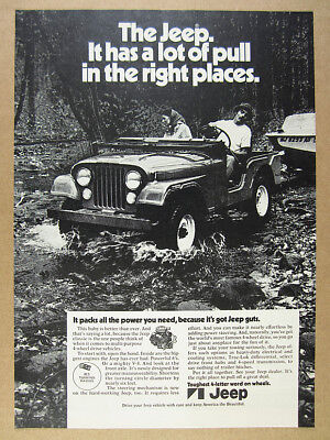 1972 AMC Jeep CJ man towing boat off-road photo vintage print Ad