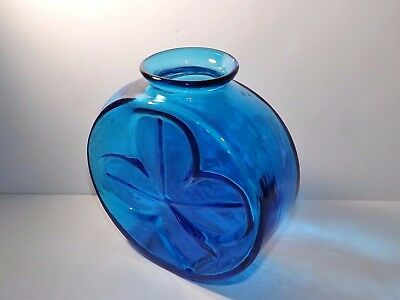 Blenko Shamrock Fish Bowl Vase Wayne Husted 1963 Retro Turquoise Vintage