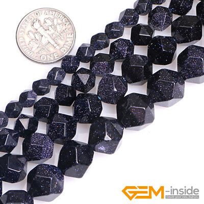 """Blue Sandstone Gemstone Polygonal Faceted Round Beads For Jewelry Making 15"""" YB"""
