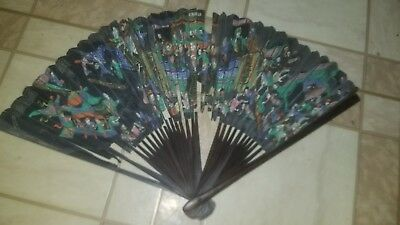 1800s hand fan handpainted , wooden handle Very Old RARE