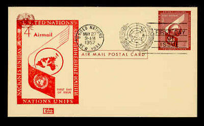 SCOTT #UXC1 4c GLOBE & WING AIR MAIL POSTAL CARD FIRST DAY COVER - KOLOR KOVER