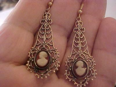 Vintage Earrings Victorian Style Cameo Dangles Gold T Metal Wire Post 2 1/2 x 3/