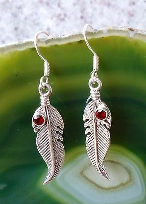 Earrings Feather with Stone Garnet Red Stone of the January Sterling Silver 925