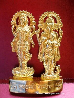 laxmi Ganesha Lakshmi Ganesh Gold Plated statue~ Hindu God & Goddess for Wealth