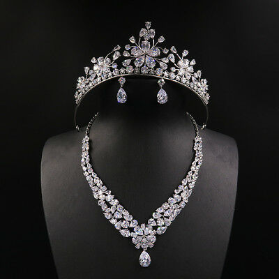 Luxury All CZ Cubic Zirconia Necklace Earrings Crown Set Wedding Party Pageant P