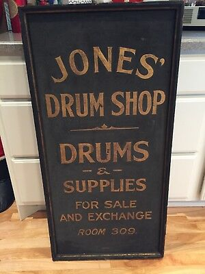 Antique Vintage Wood Trade Sign Jones Drum Shop Music Store Advertising Early