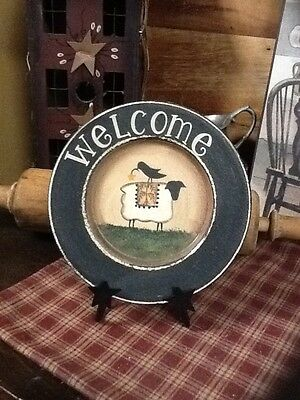 New Primitive Country Welcome Plate With Wrought Iron Foldable Frame Sheep/crow