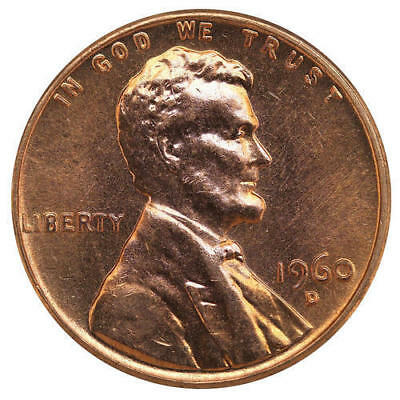 1960 D Lincoln Memorial Cent Large Date BU Penny US Coin