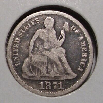1871 Seated Liberty Silver Dime , VG