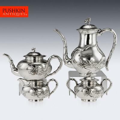ANTIQUE 20thC CHINESE SOLID SILVER LARGE DRAGON 4 PIECE TEA SET, ZEESUNG c.1910