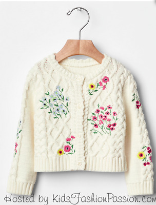 Baby  Gap Girl Cable Knit Cardigan Sweater Emroidered Nwt 6-12M Nnn
