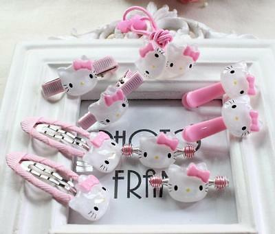 10pcs Pink Hello Kitty Rose Hair Accessories Hair Ropes Hairpins For Girl's Gift