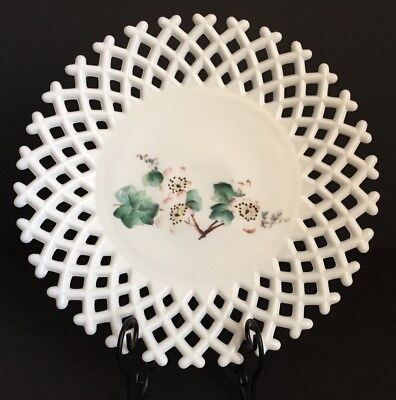 Vintage  WHITE MILK GLASS PLATE basketweave LATTICE hand painted Apple Blossoms