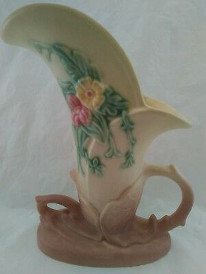 "Hull Art USA Pottery W-10-8 1/2"" Wildflower Cornucopia Vase Pastel Vintage 1940"