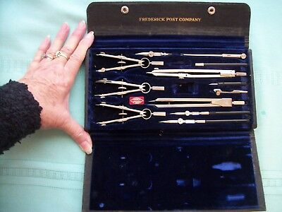 VINTAGE FREDERICK POST COMPASS DRAFTING TOOLS IN CASE - Made in Germany