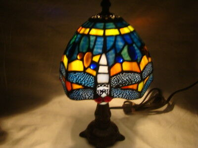 """Elegant Tiffany Style Blue Multi-Color Stained Glass Dragonfly Lamp~12"""" Tall EUC"""