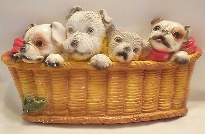 Vintage Chalkware Puppies in a Basket Wall Decor