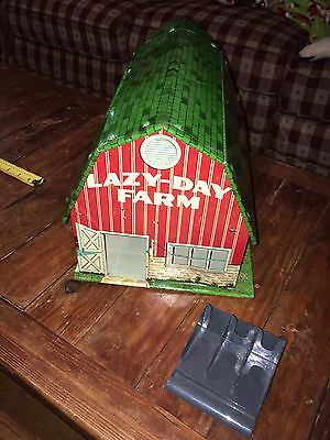 Vintage MARX LAZY DAY FARMS tin litho barn w/  Feed Trough Played In Cond- AS IS