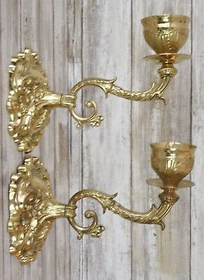 Vintage 2 Brass Sconce Candle Ornate Hollywood Regency India Pair Wall Gold Gilt