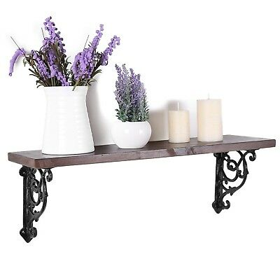 24-Inch Victorian Style Floating Shelf with Decorative Cast Iron Brackets