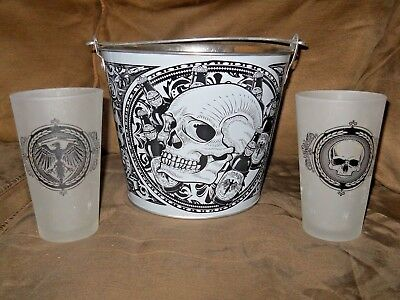 Collectible Metal Ice Bucket  Glasses Goth  Man Cave