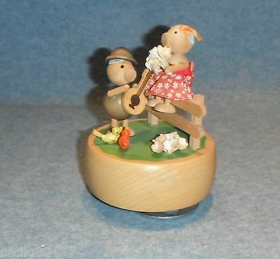 """Vintage Hand Painted Schmid Music Box Plays """"down By The Old Mill Streamer"""" #336"""