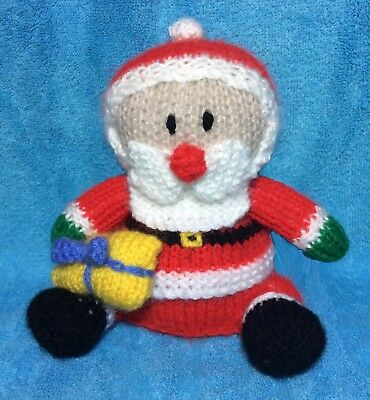 KNITTING PATTERN - Father Christmas with present orange cover /14cms Santa toy