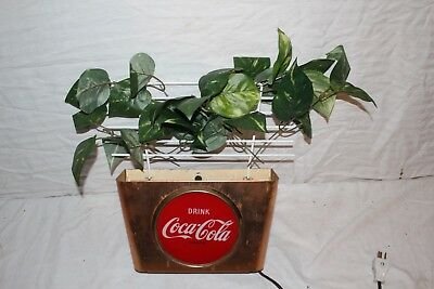 "Rare Vintage 1950s Coca Cola Wall Basket Soda Pop Gas Oil 14"" Lighted Metal Sign"