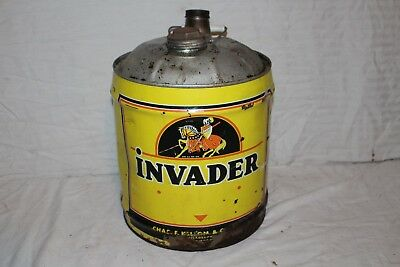 Rare Large Vintage Invader Motor Oil 5 Gallon Can Gas Station Sign