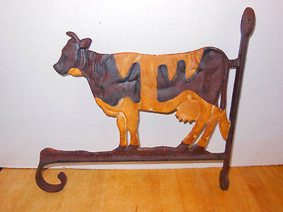 Vintage Cast Iron Cow Holstein Bracket Hanger for Plant or Sign