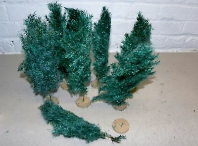 "7 Old Real Weed 9"" Putz Christmas Trees In Original Box #3"