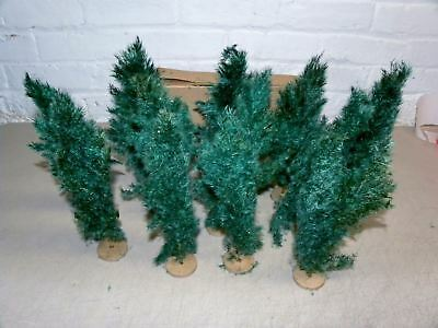 "12 Old Real Weed 9"" Putz Christmas Trees In Original Box #2"