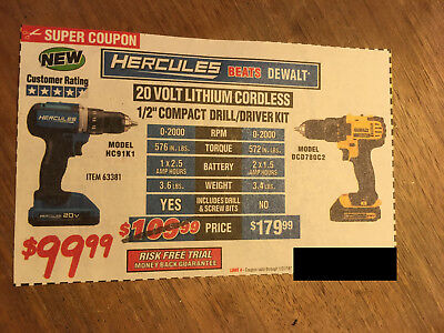 "Coupon to save $ on 20 volt Cordless 1/2"" Drill/Driver @ Harbor Freight Tools"