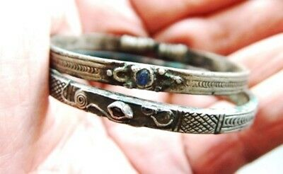 Lot of two superb ancient silver Bracelets decorated with red & blue Gems