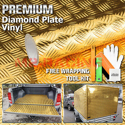 "*24""x48"" Gold Chrome Diamond Plate Vinyl Decal Sign Sheet Film Self Adhesive"