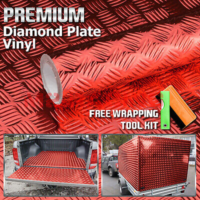 "*12""x48"" Red Chrome Diamond Plate Vinyl Decal Sign Sheet Film Self Adhesive"