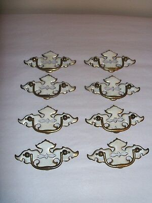 Vintage set of 8 Brass/White Drawer Handles, Pulls