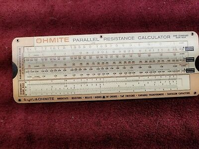Vintage 1961 Ohmite Parallel Resistance Calculator and Ohm's Law Calculator