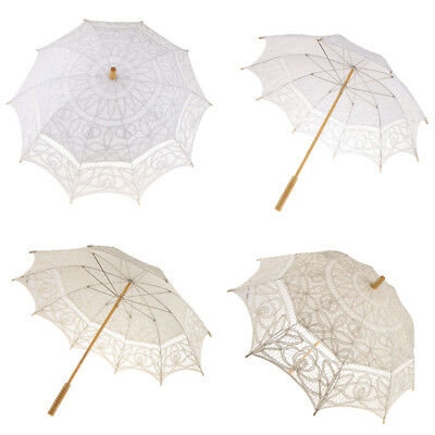Romantic Dome Shape Victorian Wedding Lace Parasol Umbrella with Wooden Handle