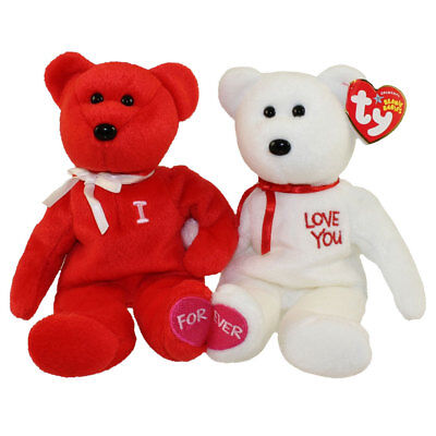 TY Beanie Babies - I LOVE YOU the Bears (set of 2) (9.5 inch) - MWMTs