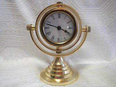Vintage brass marine type clock on stand Made in India