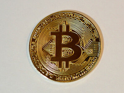 1x Bitcoin Coin Collectible Gift Gold Plated BTC Coin Art Collection Physical