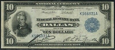 "Fr819 $10 1918 Frbn ""dallas"" Only 52 Recorded Vf+ Wlm5014"