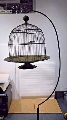 "<> Stand Only <> Antique Hendryx Metal Bird Cage Stand <>70"" H <>10 inch base"