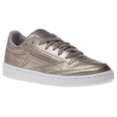 da0c89271c0d New Womens Reebok Metallic Club C 85 Melted Metals Leather Trainers Court  Lace