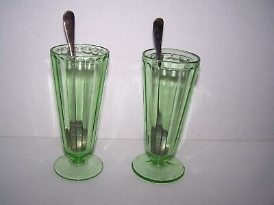 Antique Vintage Pair Of Ice Cream Sundae Glasses Green Depression W/ Spoons