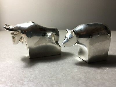 Vintage Dansk Silver Plated Bear and Bull Paperweights Wall Street