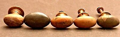 5 Antique Solid Brass Iron Oval Dresser Drawer Pull Knobs CHICAGO SCHOOL LOT