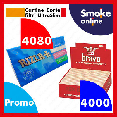 4000 CARTINE BRAVO REX CORTE ULTRAFINE e 4080 FILTRI ULTRASLIM 5,7mm RIZLA